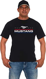 JH DESIGN GROUP Men's Ford Mustang Distressed Stars & Bars Crew Neck T-Shirt