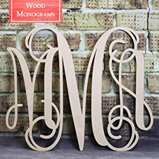 Back40Life - Unfinished Vine Monogram Wood Letters Cutout DIY Decor Nursery
