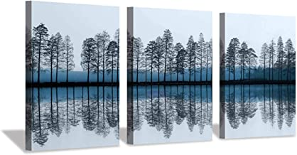 Abstract Landscape Canvas Wall Art: Reflection of Trees & Lake Artwork Print Painting on Canvas for Dining Room (16'' x 12'' x 3 Panels)