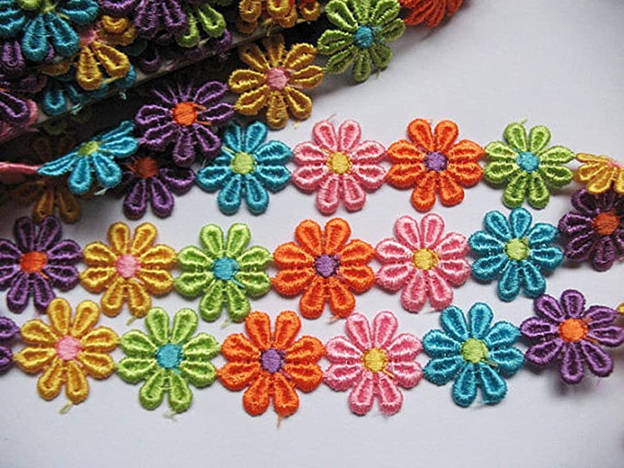 YYCRAFT Pack of 3y Colorful Venise Lace 1 1/8