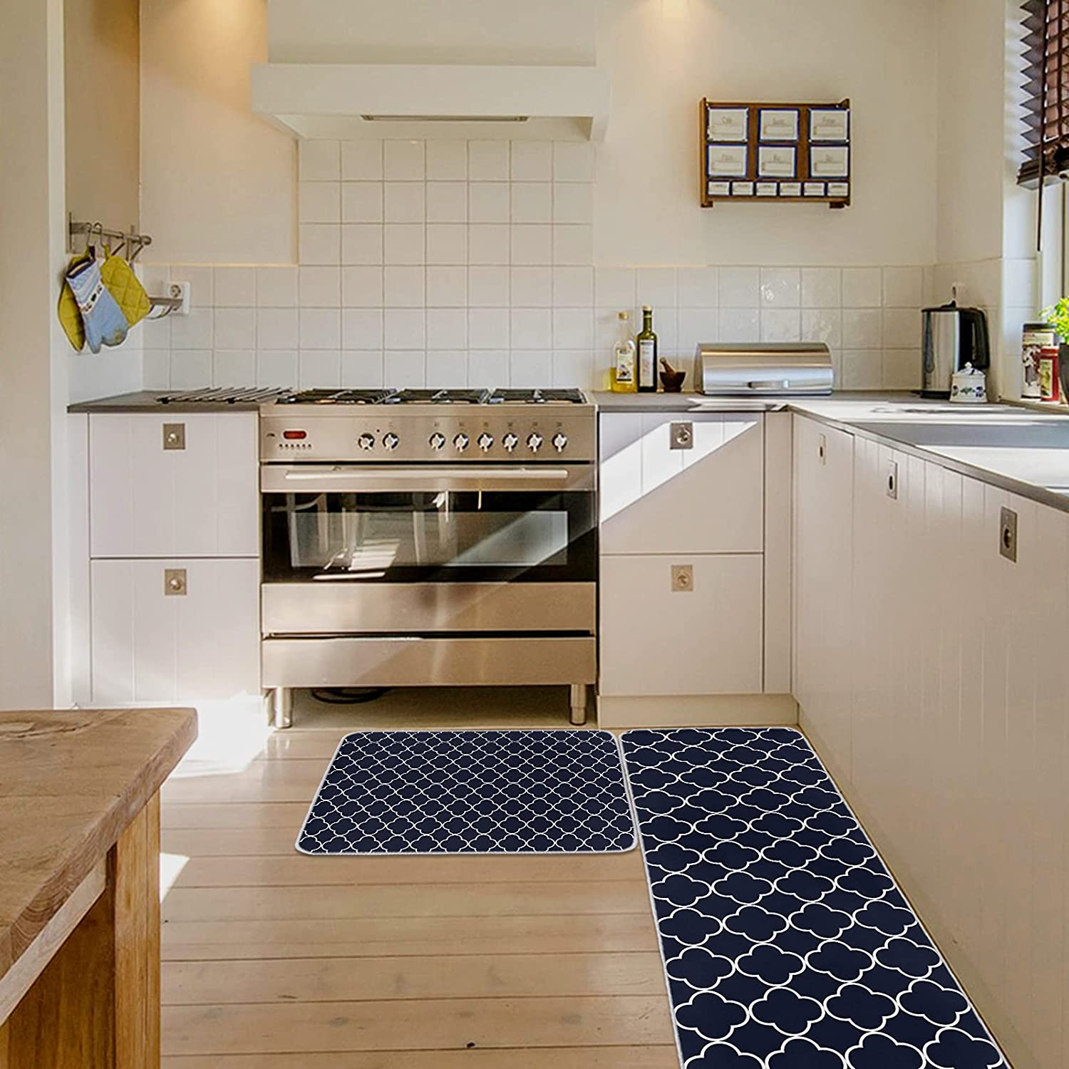 ZEREAA Absorbent Kitchen Rugs Sale price Recommendation and Blue Moroccan Vector Set Mats