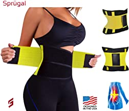 Sprugal™ Slimming/Shaper Belt | Ribbed Supporting Bands | Tear-Resistant Velcro Fastening (Wrap Around) - (Colour-Black/Yellow Mix)