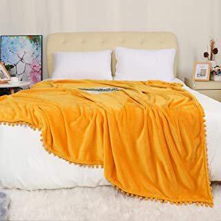 PiccoCasa Fleece Bed Blanket Full Size - Solid Boho Decorative Blanket with Pompom Fringe - Lightweight Luxury Plush Microfiber Flannel Blankets for Bed Couch Sofa,Yellow, 70 x 78 Inches