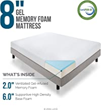 LUCID 8 Inch Gel Infused Memory Foam Mattress - Medium Firm Feel - CertiPUR-US Certified - 10 Year warranty - Twin with LUCID Encasement Mattress Protector - Twin