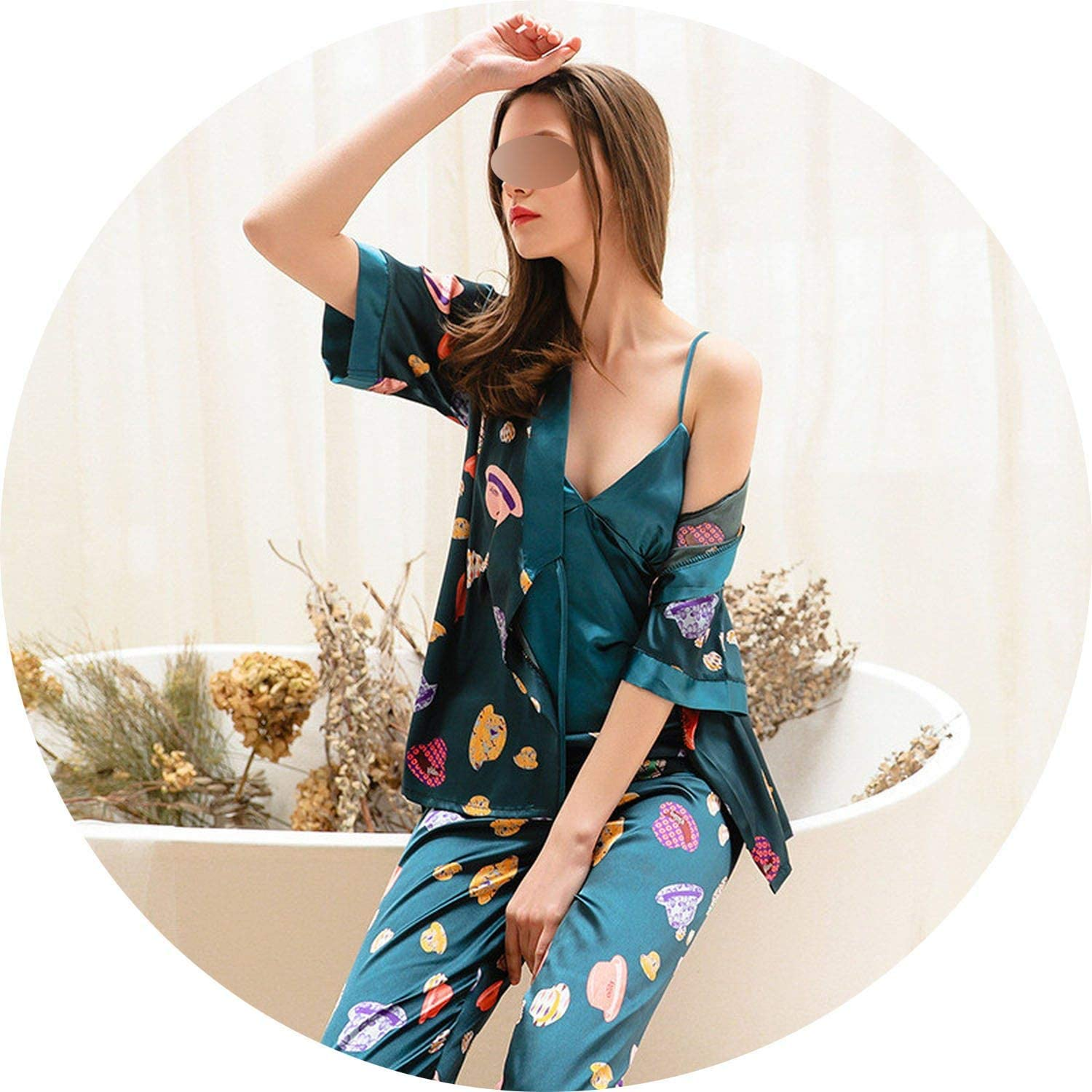 Glittering time 3 Pieces Women's Spring Pajamas Set Sling Satin Faux Silk Printing Sleep Lounge Long Pants Sleepwear