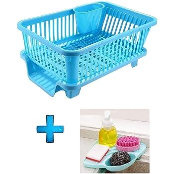 LIOMES Popular Combo Kitchen Sink Organiser & 3 in 1 Kitchen Sink Dish Rack Drainer Drying Rack Washing Basket with Tray for Kitchen, Dish Rack Organizers, Utensils Tools Cutlery (Blue)
