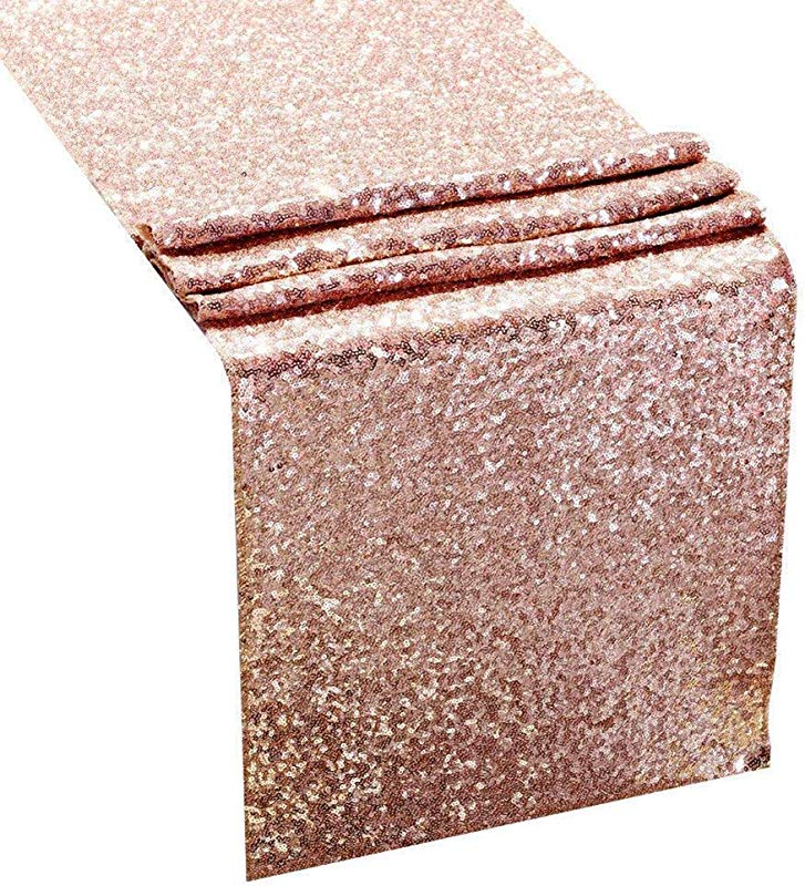 2 Pack 12 X 108 Inch Rose Gold Glitter Sequin Premium Table Runner For Pool Party Birthday Banquet Baby Shower Decoration Home Celebration Activities
