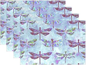 DERTYV Heat Resistant Placemats for Kitchen Table Mats,Water Color Diamond Dragonfly Washable Insulation Non Slip Placemat 12x18 inch 6pcs