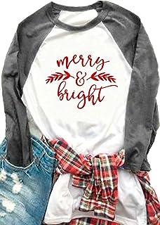 HRIUYI Christmas Merry and Bright Shirts for Women Plus Size Raglan Baseball Shirts 3/4 Sleeve Graphic Tee Shirts
