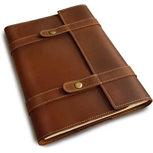 Brown Leather Folder Portfolio A4 Embossed Moon Dragon Handmade Expandable Office Padfolio Document Organizer with Pen and Card Holder Brown