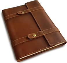 Le Vent Professional Portfolio, Genuine Handmade Leather, with A4 Spiral Lined (Ruled) Notebook 200 Pages, 8.27x11.69 Inches, Vintage Brown Refillable Journal