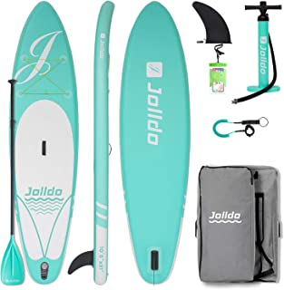 """jolldo Inflatable Stand Up Paddle Board 10'6'×31""""×6"""" Ultra Light SUP Non-Slip Deck w Paddle, Pump, Backpack, Leash, Waterp..."""