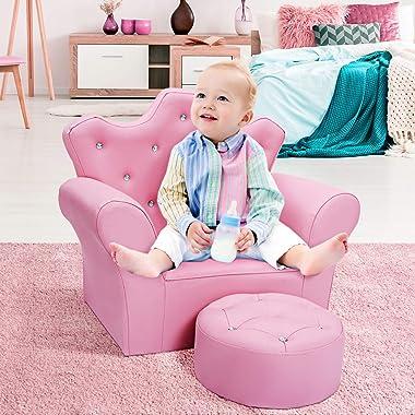 Costzon Kids Sofa, Children Upholstered Sofa with Ottoman, Princess Sofa with Diamond Decoration, Smooth PVC Leather Toddler