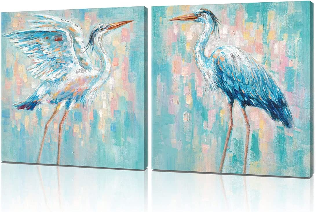 B BLINGBLING Beach Heron Canvas Wall Art Blue Home Decor, Sea Bird Print Pictures Wall Decorations for The Home Teal Bathroom Accessories Set Framed 20