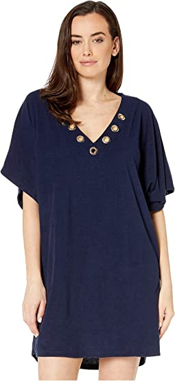 f148205724 Sheer Stripe Woven Cover-Up.  38.00. New. New Navy