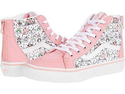 Vans Kids SK8-Hi Zip (Big Kid) ((Puppicorns) True White/Flamingo Pink) Girls Shoes