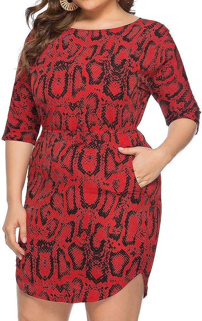 ZFK/_DRESS Womens Snakeskin Print Plus Size Boat Neck Tie Waist Mini Dress with Pockets