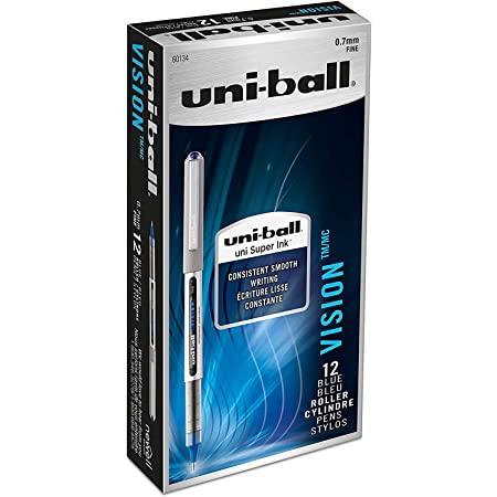 2 Count Blue uni-ball Vision Rollerball Pens 0.7mm Fine Point