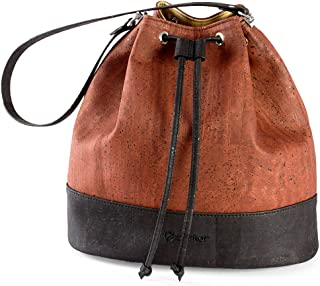 Bucket Bag for Women Crossbody Shoulder Handbag Non-Leather Vegan Cork