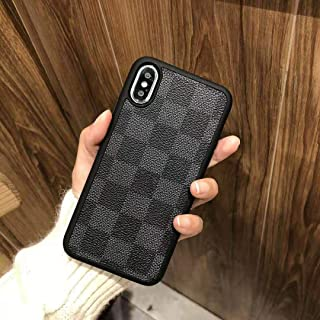 iPhoneXS MAX -KAYLEIGH- New Elegant Luxury Designer PU Leather Classic Monogram Style Protective Case Cover Anti Scratch Drop Protection for Apple iPhone Xs MAX (Black Checker)