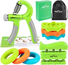LDGFLY Hand Grip Strengthener Kit with Finger Exerciser, Finger Stretchers, Adjustable Hand Gripper and Exercise Rings. Strength Trainer for Athletes, Pianists, Guitar and Therapy.