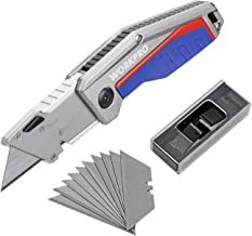 WORKPRO Folding Pocket Utility Knife - Heavy Duty Box Cutter, Quick Change Blade, Liner Lock, Al Die-Casting Handle with Belt Clip, 10 Extra Blades Included