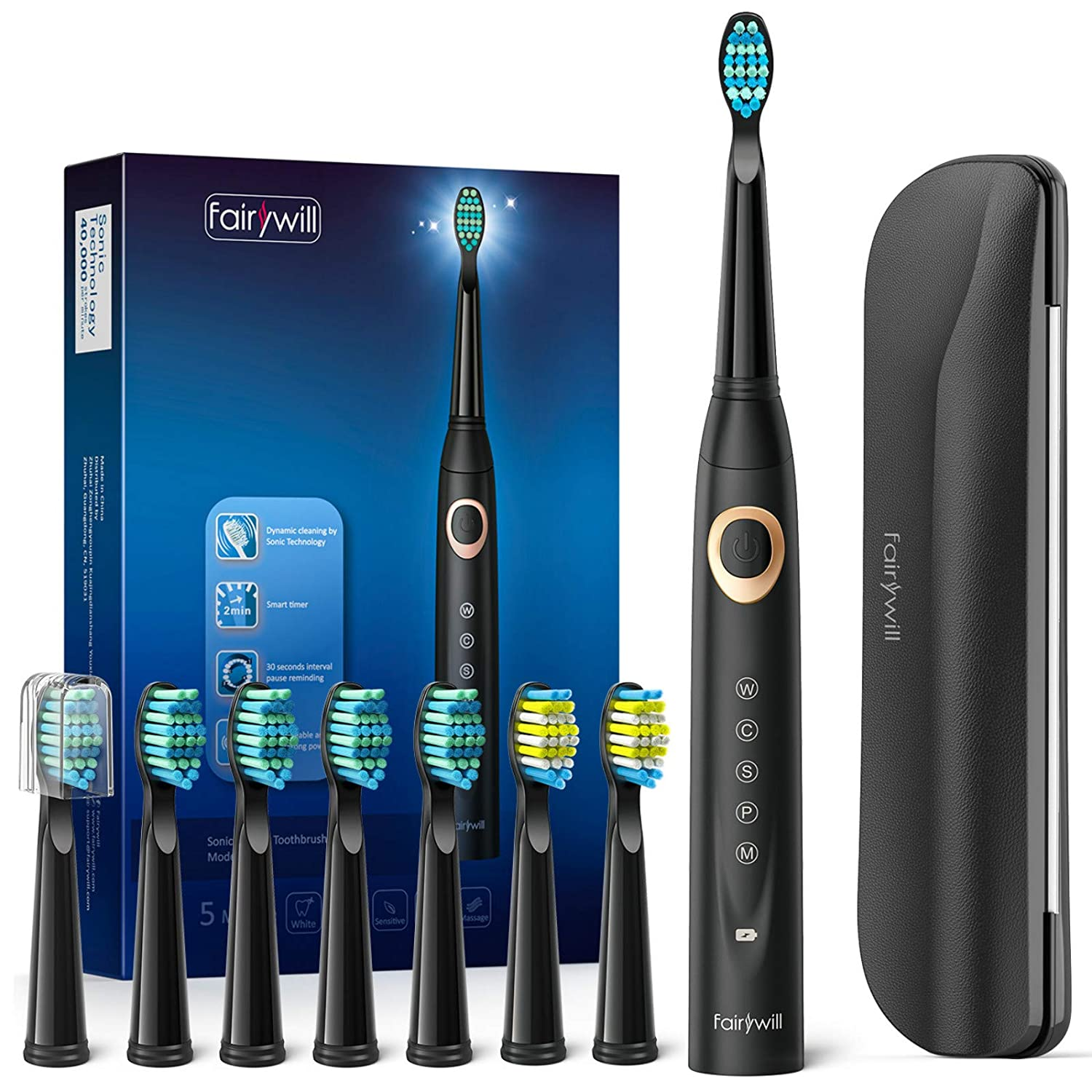 Fairywill D8 Sonic Electric Toothbrush for Adults and Kids ADA Accepted, 8 Dupont Brush Heads & Travel Case 5 Modes Rechargeable Whitening Power Toothbrush 2 Mins Smart Timer 40,000 VPM Black Series: Beauty