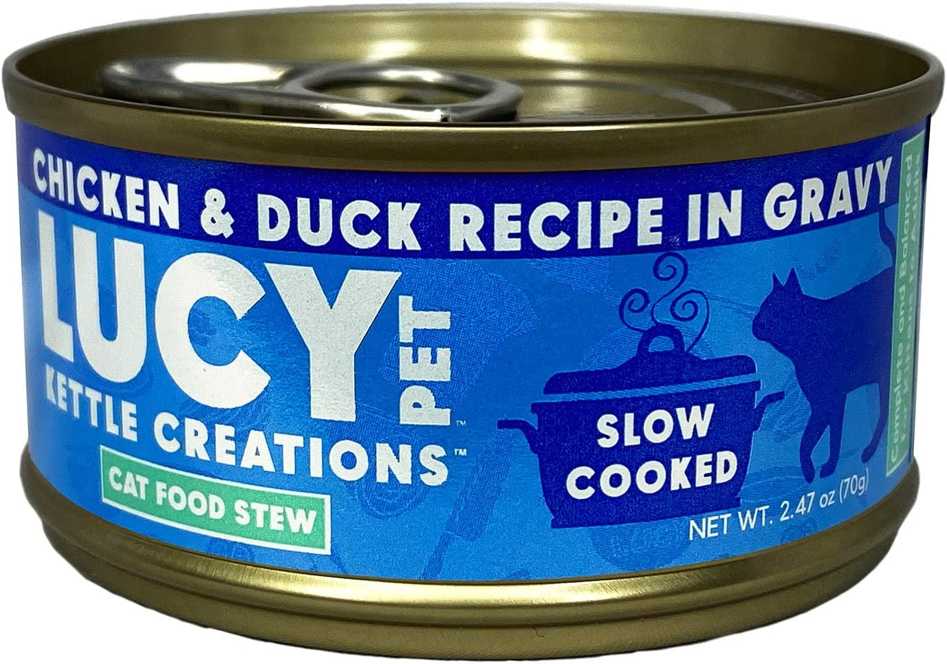Lucy Pet Products Kettle Creations Chicken and Duck Cat Stew Recipe in Gravy 2.47oz, Blue (LPPFFLW400)