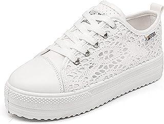 Minetom Femmes Casual Dentelle Lace Mode Toile Chaussures Bout Rond Talon Plat Espadrilles Loisir Flâneur Chaussures Baske...