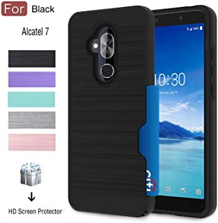 Alcatel 7 Case, T-Mobile Revvl 2 Plus Case with Card Slots Holder, Atump Built-in Armor [HD Screen Protector][Wallet][Metal Texture] TPU Shockproof Cover Cases for Alcatel 7 Folio Black