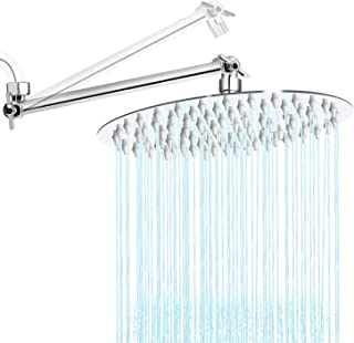 Rain Shower Head High Pressure, Sooreally 8 Inches Rainfall Showerhead with 11 Inch Adjustable Extension Shower Arm, Ultra-thin Design Stainless Steel Chrome Finish Shower