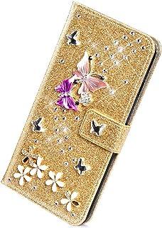 Herbests Etui kompatybilne z iPhone XS Max, etui na telefon komórkowy, portfel, etui z motylem, kwiaty, kolorowy brokat, b...