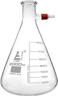 Filtering Flask, 2000ml - Conical Shape, with Integral Plastic Screw Thread Side Arm - White Graduations - Borosilicate Glass - Eisco Labs