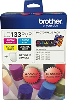 Brother LC133 Photo Value Pack 1XBLACK 1XCYAN 1XMAGENTA 1XYELLOW + 40 Sheets Photo Paper