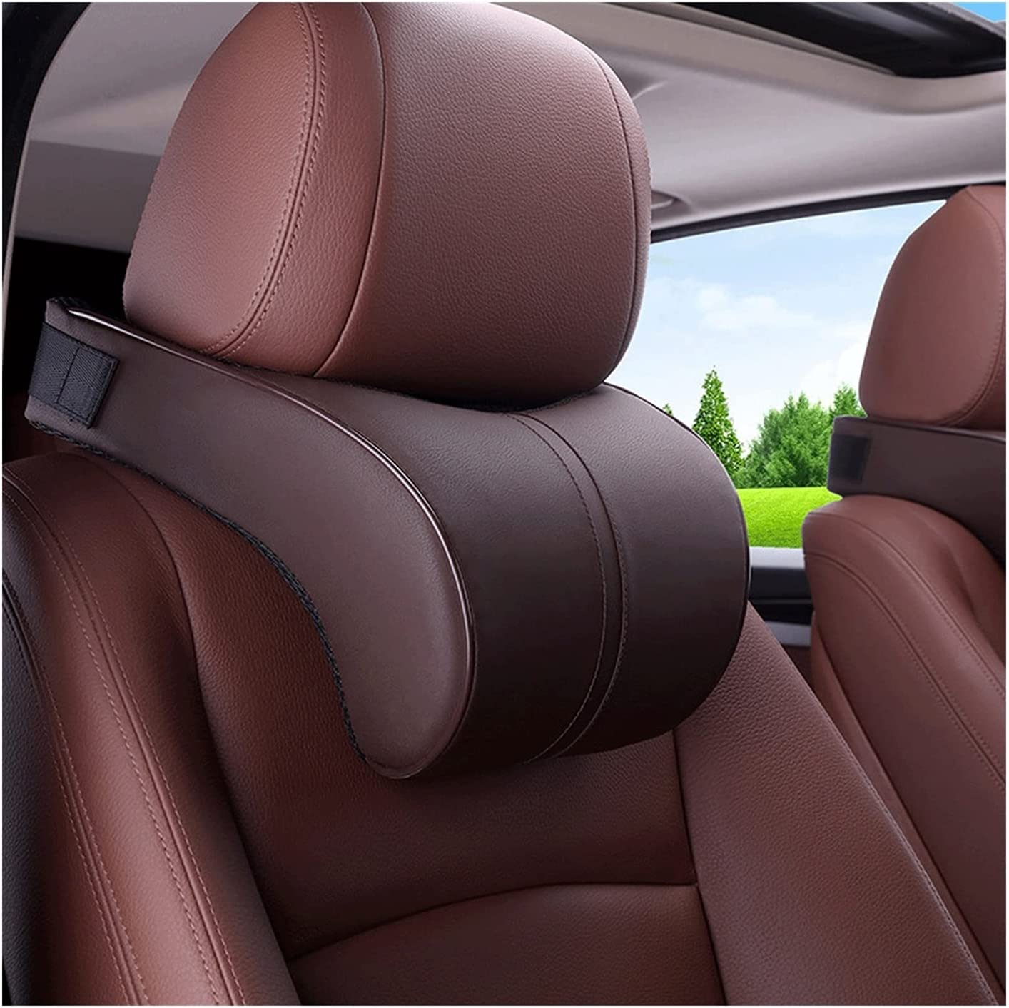 LAXH Opening large release sale Car Neck Pillow Memory He Foam Leather Pillows Great interest Headrest