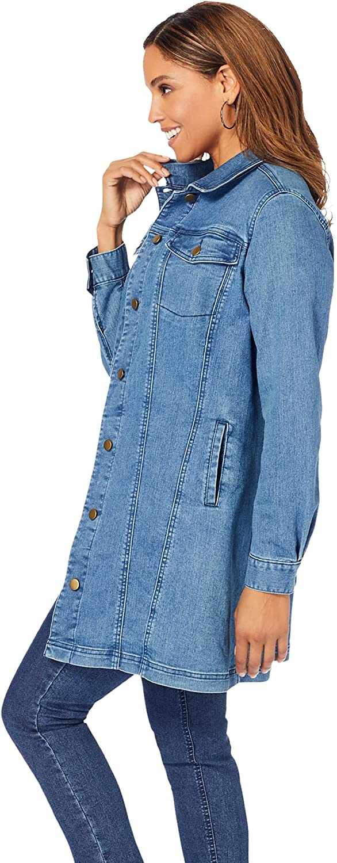 Jessica London Women's Plus Size Long Denim Jacket Tunic Length Jean Jacket
