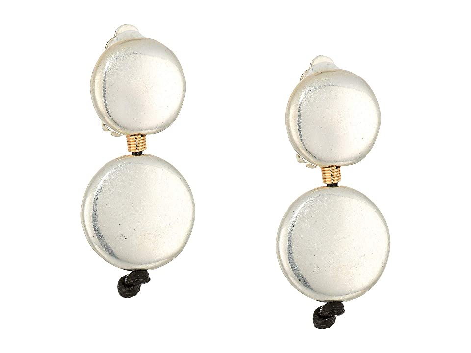 Robert Lee Morris Double Circle Wire Wrapped Clip-On Earrings (Two-Tone) Earring, Metallic