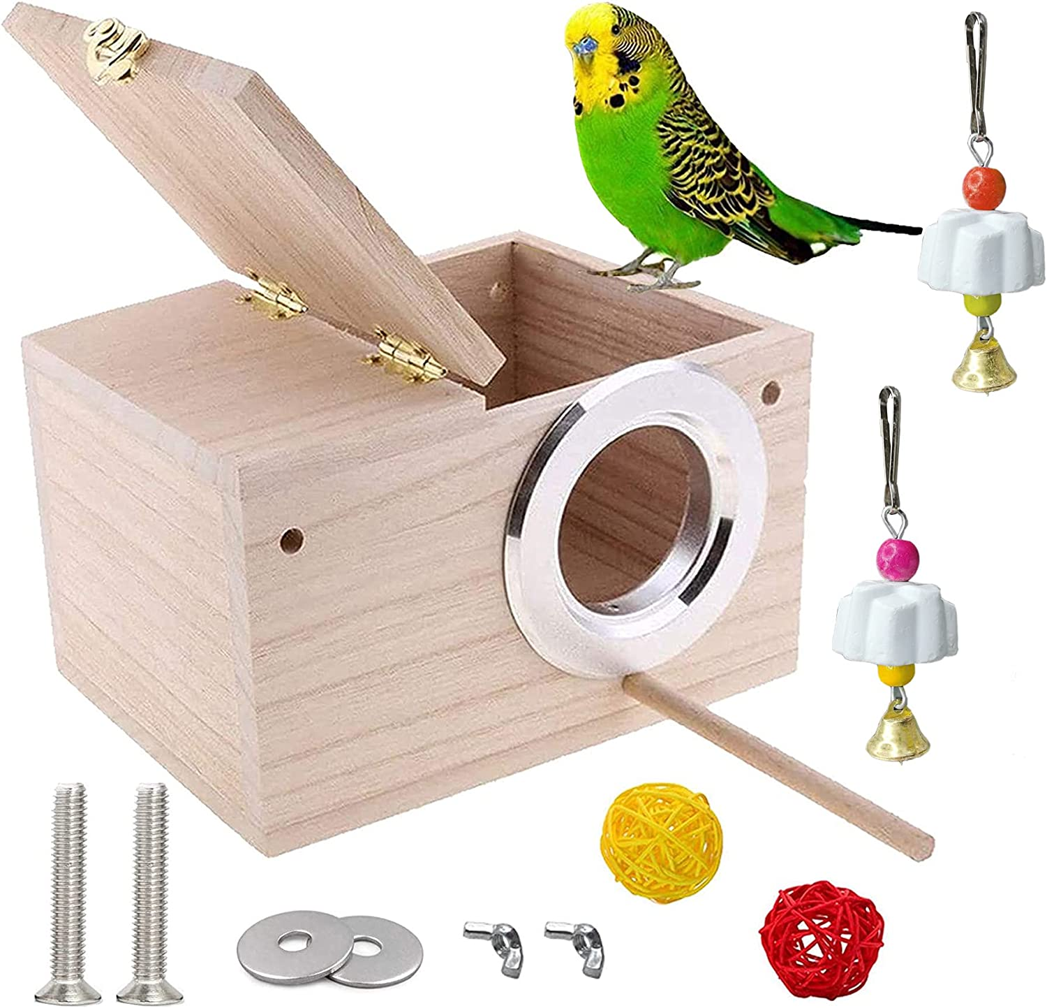 JSLZF Bird Nesting Box Wood Latest item Budgie Mat Parrot Perch with Safety and trust House