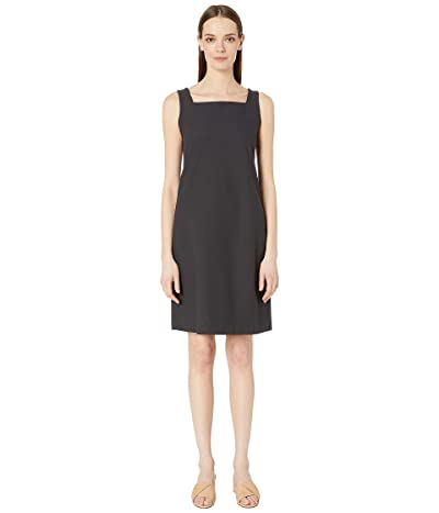 Eileen Fisher Washable Stretch Crepe Square Neck Knee Length Dress (Graphite) Women