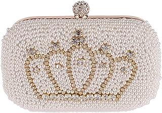 Shoulder Bag Pearl Evening Bag Clutch Purse Diamond Crown Banquet Bag Handbag Handbag Clutch (Color : Beige)