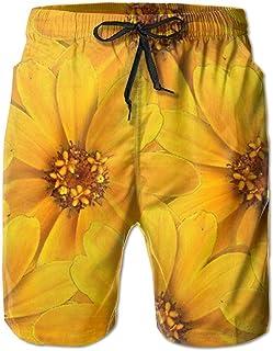 Lixinli Men's Yellow Flowers Summer Pants Beach Shorts