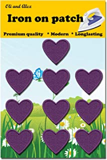 Iron On Patches - Purple Heart Patch 10 pcs Iron On Patch Embroidered Applique 1.26 x 1.18 inches (3.2 x 3 cm) A-121
