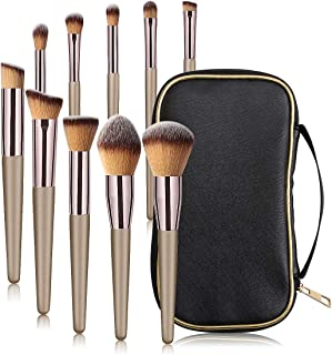 MAANGE 10 Pcs Travel Face Makeup Brushes Professional Eye Foundation Makeup Brush Set Small Soft Blending Makeup Brushes Set Kit with Case Black Bag