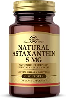 Solgar Natural Astaxanthin 5 mg, 30 Softgels - Potent Antioxidant Protection, Supports Healthy Skin Glow - with Naturally ...