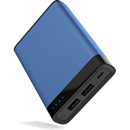 TALK WORKS Portable Charger Power Bank USB Battery Pack 10000 mAh - External Cell Phone Backup Supply for Apple iPhone 13, 12, 11, XR, XS, X, 8, 7, 6, SE, iPad, Android for Samsung Galaxy - Blue
