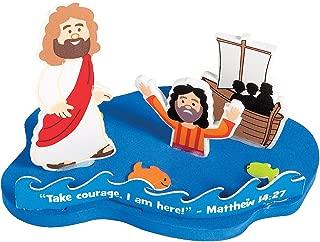 Fun Express - Jesus and Peter Walk On Water ck - Craft Kits - Party Craft Kits - Toys - 12 Pieces