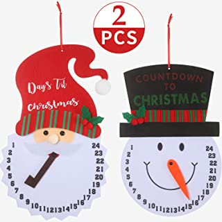 Boao Santa Countdown, Snowman Advent Calendar for The Holidays, Wooden Wall and Door Decoration, Days Until Christmas Countdown (2)