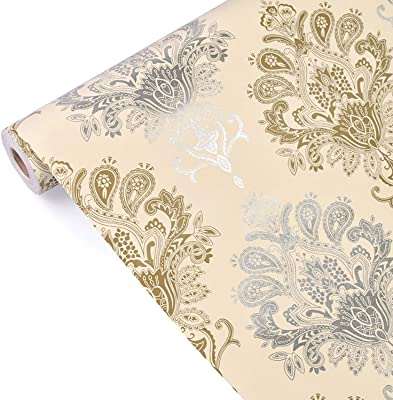 """Eurotex Damask Design Wallpaper 17.71"""" X 392"""" Self-Adhesive Removable Peel and Stick Decorative Wall Covering (PVC, Size 45cm X 10mtr Roll 48 Sqft, Blue & Brown Color)"""