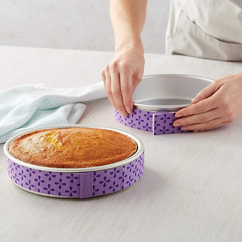 Bake Even Strip, Cake Pan Dampen Strips, Tuscom Ultimate Cake Decorating Supplies Pastry Tools Baking Tool Cake Decorating, Super Absorbent Thick Cotton, Purple, 2 PCS (1 PCS)