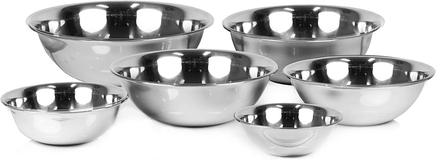 Fashion Year-end gift ChefLand Set of 6 Standard Mixing Stainless Bowls Weight Steel